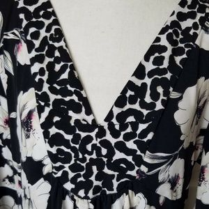 WHBM Top Blouse Shirt XL Floral Leopard Print